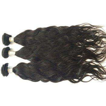 3 Pcs Pure Color 5A Remy Natural Wave Indian Hair Weaves - BLACK 16INCH*18INCH*20INCH