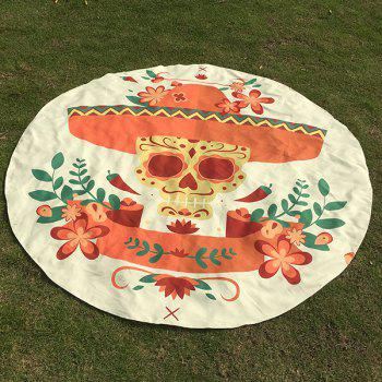 Motif Skull Flower festival Halloween plage ronde Throw - Blanc Cassé ONE SIZE