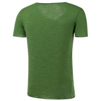 Short Sleeve Skull Print Round Neck T-Shirt - GRASS GREEN 2XL