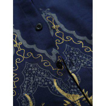 Vintage Printed Slim-Fit Shirt - CADETBLUE L