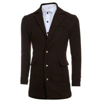Simple Manteau Minceur Lapel De laine - Café XL