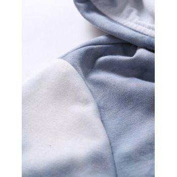Hooded Button Embellished Ombre Short Sleeve Hoodie - BLUE M