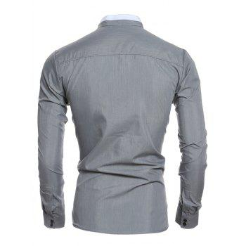 Long Sleeve Color Block Edging Grandad Collar Shirt - GRAY XL