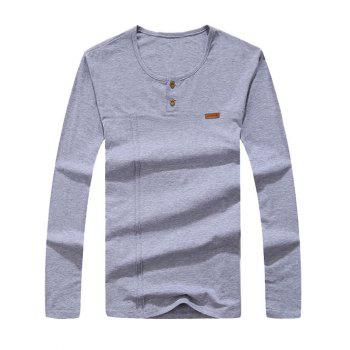 Round Collar Long Sleeve Button Embellished T-Shirt - GRAY M