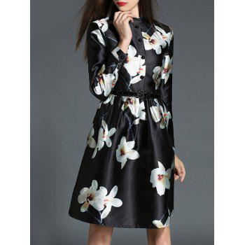 dresslily Belted Floral Shirt Dress