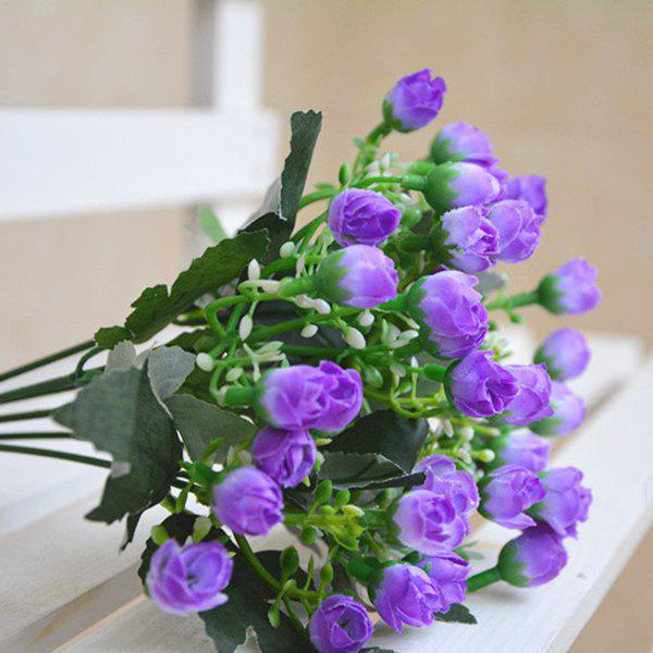 15 Heads Real Touch Artificial Rose Bud Flower - LIGHT PURPLE