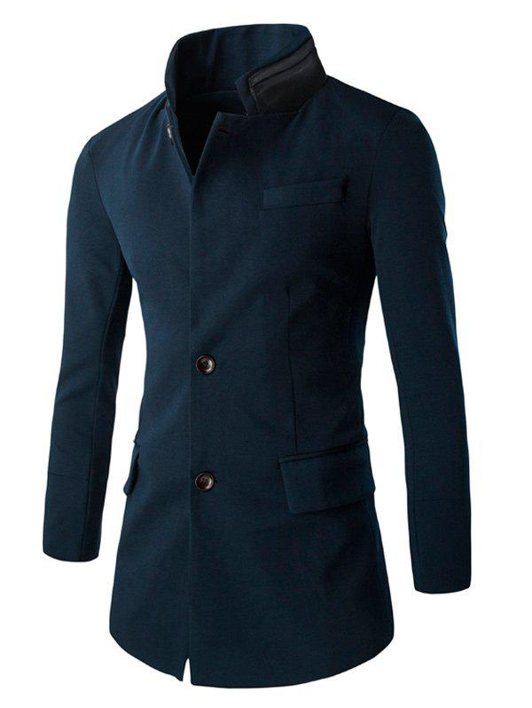Double Collar Flap Pocket Slim-Fit Coat - Cadetblue 2XL