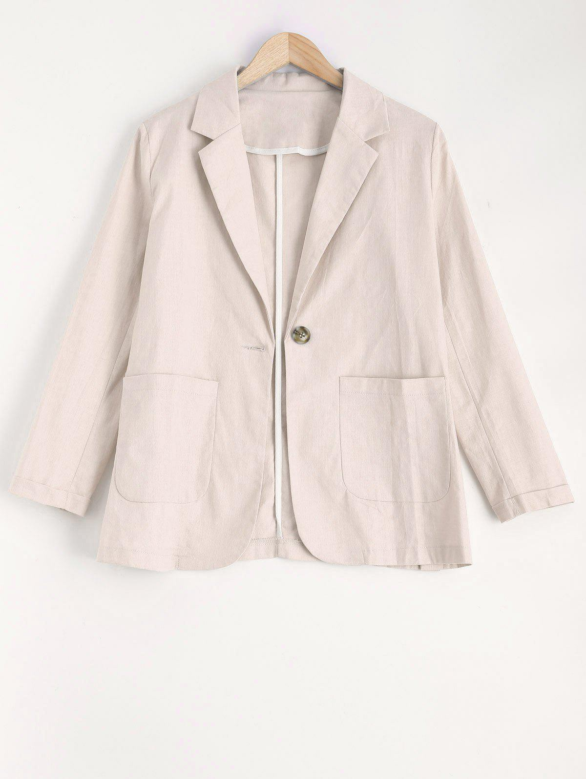 Col à revers One Button Blazer - Blanc Cassé M