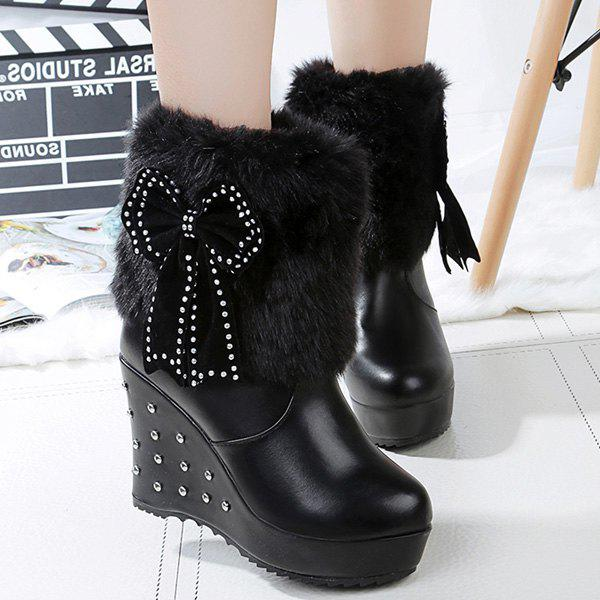 Bowknot Rivet Faux Fur Wedge Boots - BLACK 40