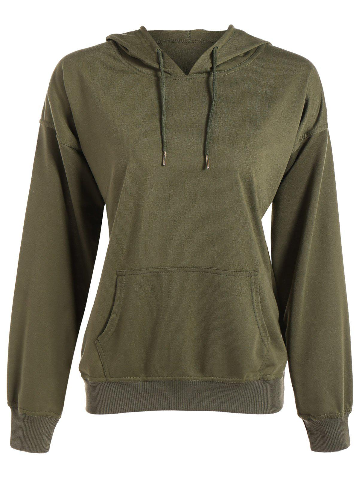 Batwing Sleeve Drawstring Oversized Hoodie - ARMY GREEN XL
