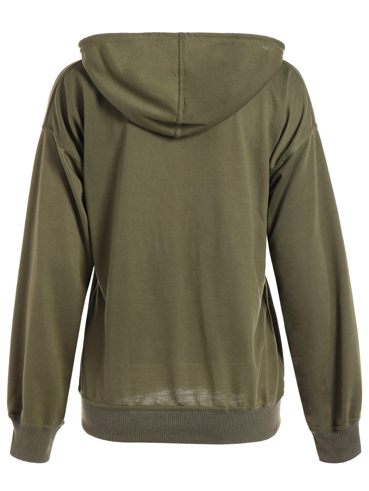 Batwing Sleeve Drawstring Oversized Hoodie - ARMY GREEN L