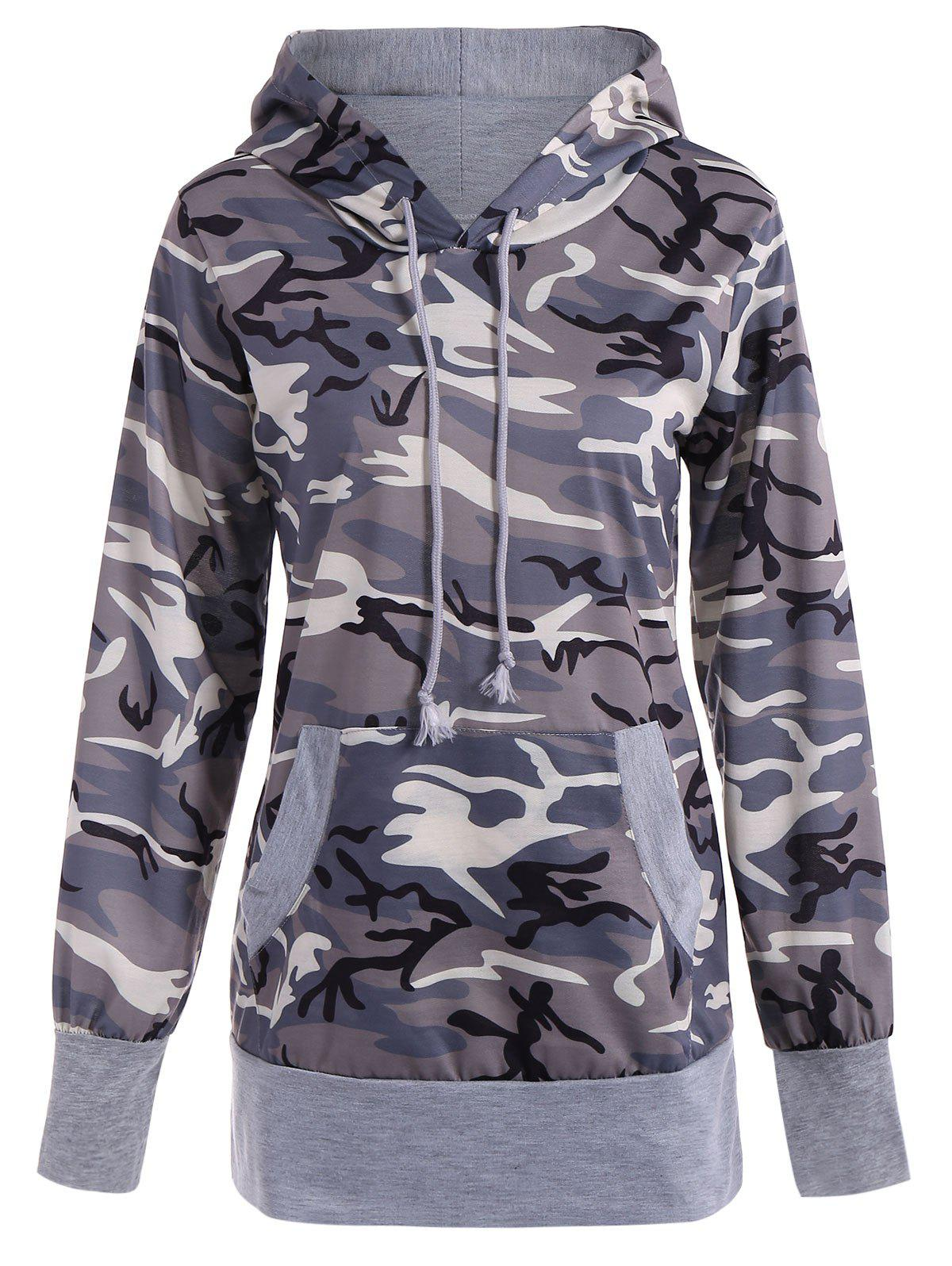 Long Sleeve Drawstring Camo Pullover Hoodie - CAMOUFLAGE 2XL