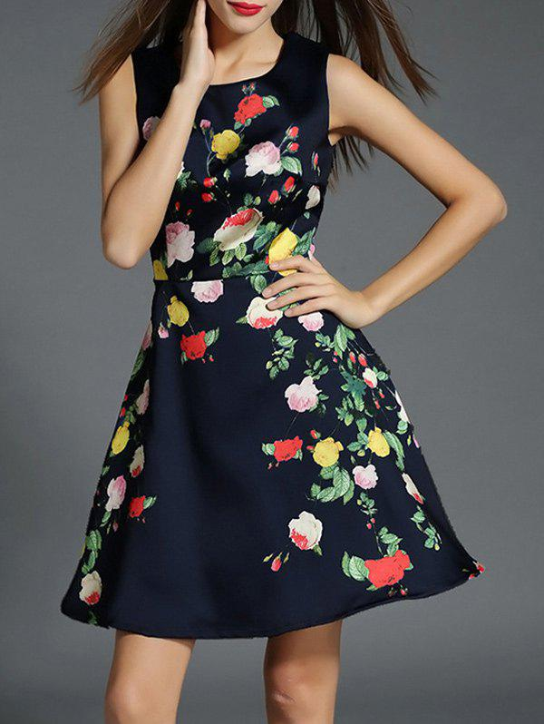 Floral Print Fit and Flare Floral Cocktail Dress sleeveless floral print fit and flare dress