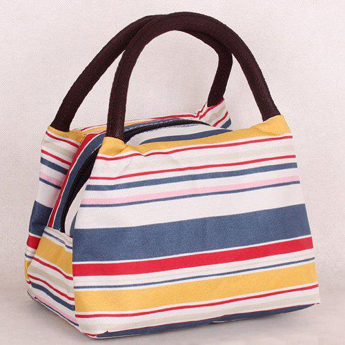 Color Block Nylon Striped Pattern Tote Bag - YELLOW/RED