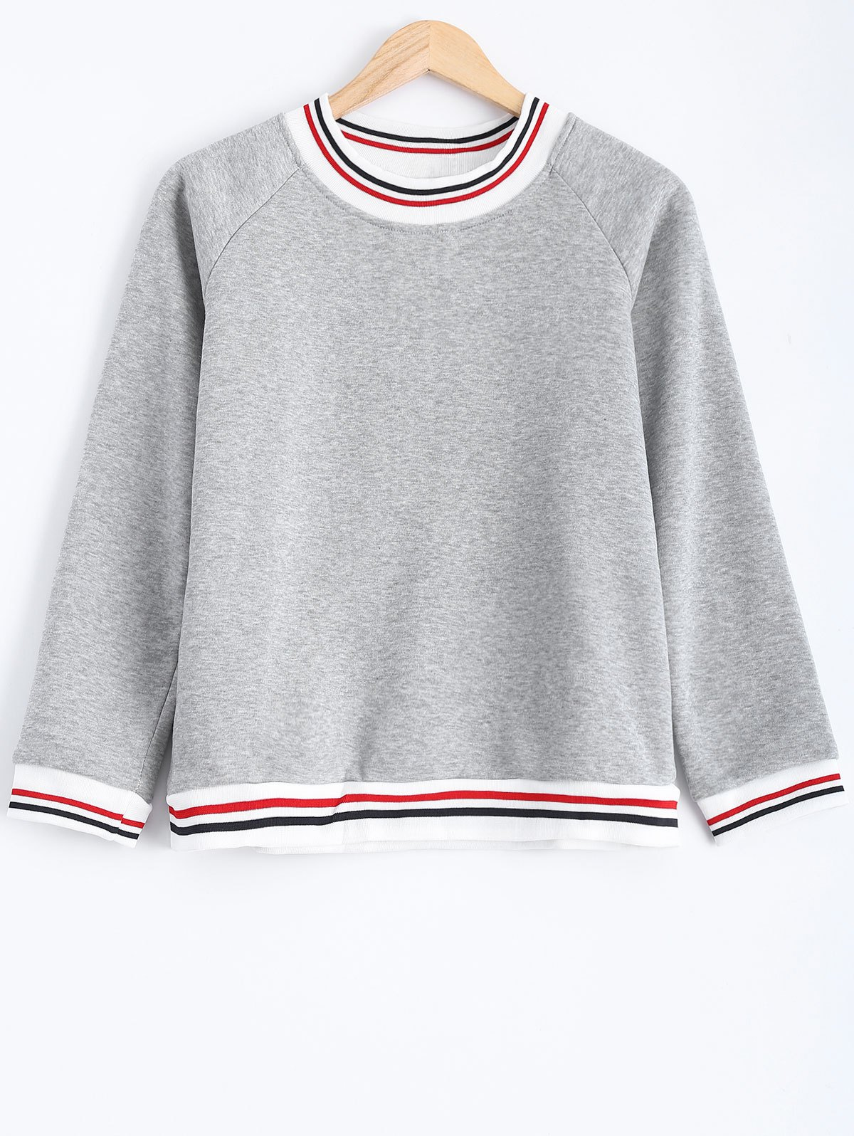 Striped Flocking Loose-Fitting Sweatshirt - GRAY L