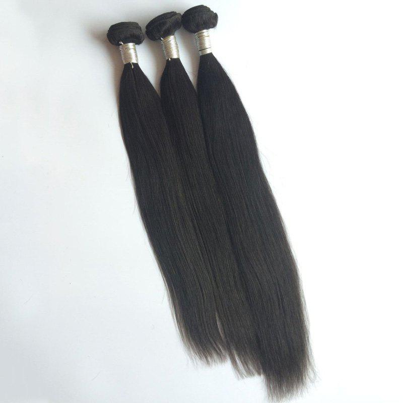 3 Pcs Pure Color 5A Remy Natural Straight Indian Hair Weaves - BLACK 16INCH*16INCH*16INCH