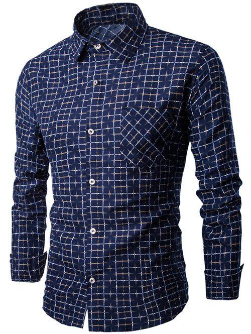 Long Sleeve Pocket Design Checkered Shirt