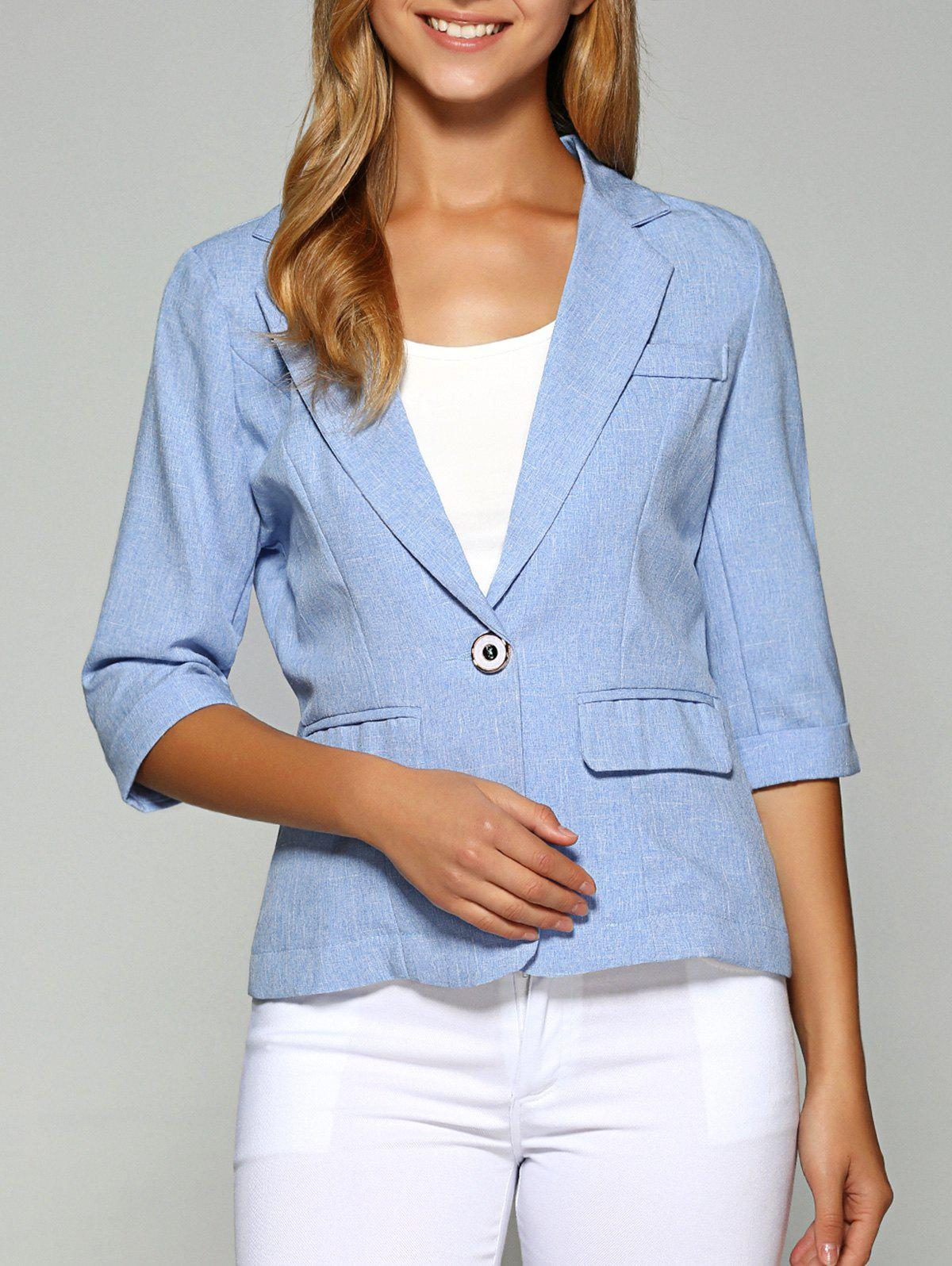 Lapel One Button Slimming Plaine Blazer - Azur 2XL