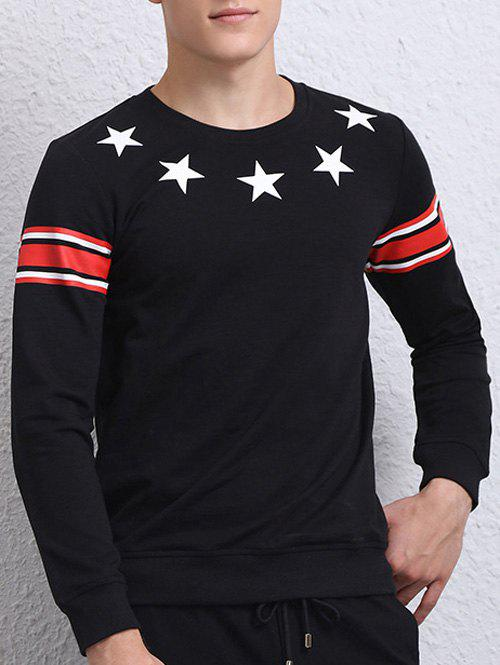Long Sleeve Star Printed Crew Neck Sweatshirt - BLACK 4XL