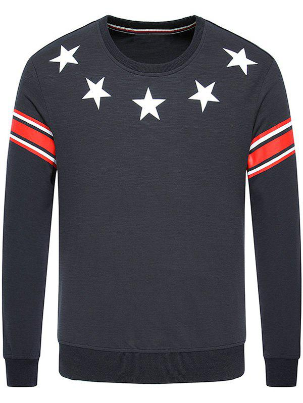 Long Sleeve Star Printed Crew Neck Sweatshirt - DEEP GRAY 2XL