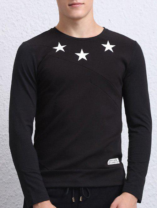 Long Sleeves Star Print Round Neck T-Shirt round neck star stripe print long sleeves t shirt