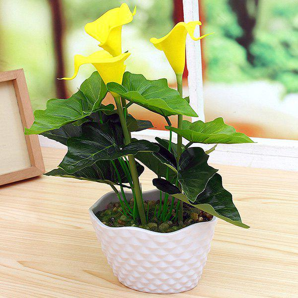 PU Real Touch Artificial Calla Flower Bonsai - YELLOW