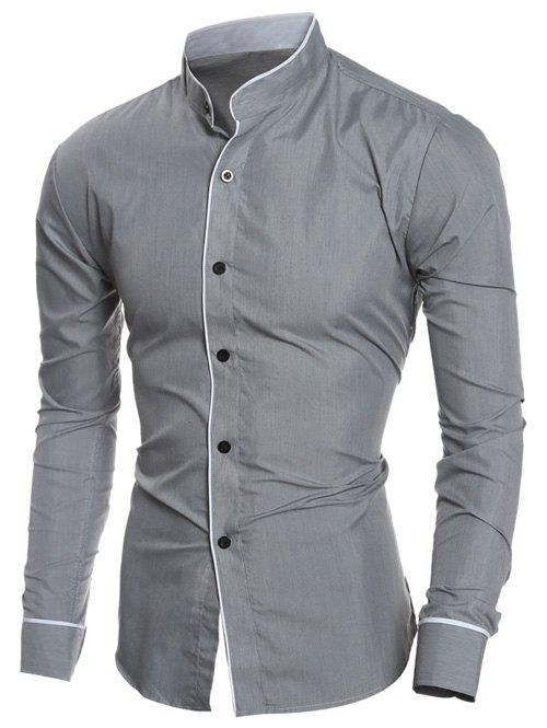 Long Sleeve Edging Grandad Collar Shirt - GRAY L