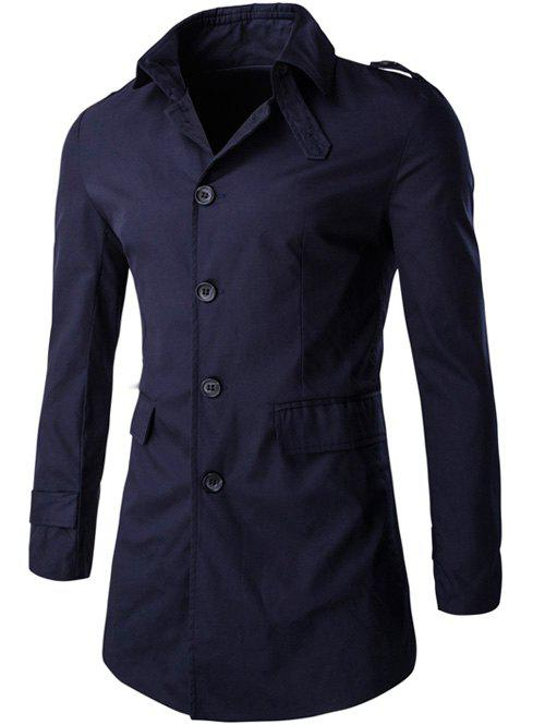 Slim Flap Pocket Button-Down Collar Coat - Bleu Violet M