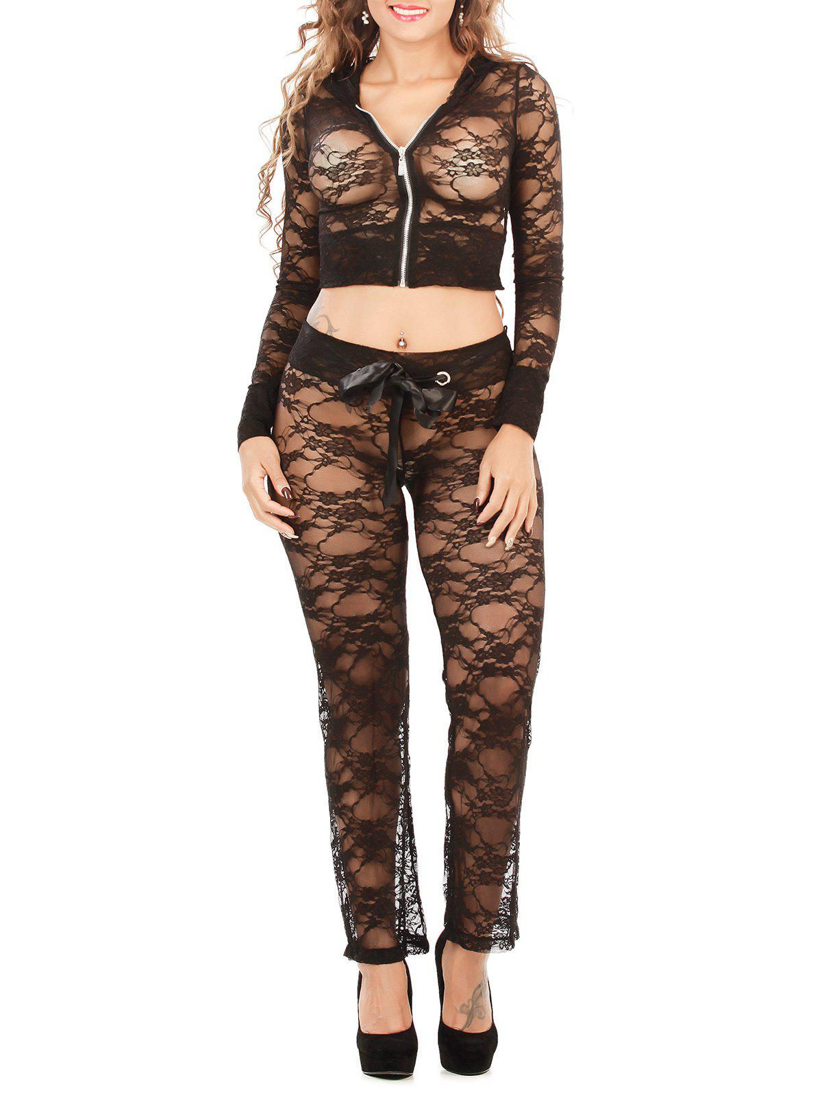 Hooded Cropped Lace Jacket and String Pants Loungewear - BLACK XL