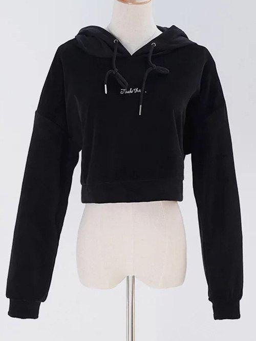 Cropped Pullover Velvet Hoodie - BLACK ONE SIZE