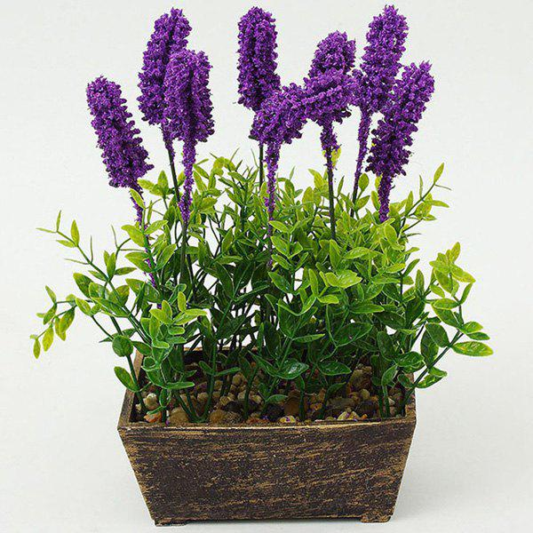Potted Artificial Lavender Flower Bonsai Plant - PURPLE