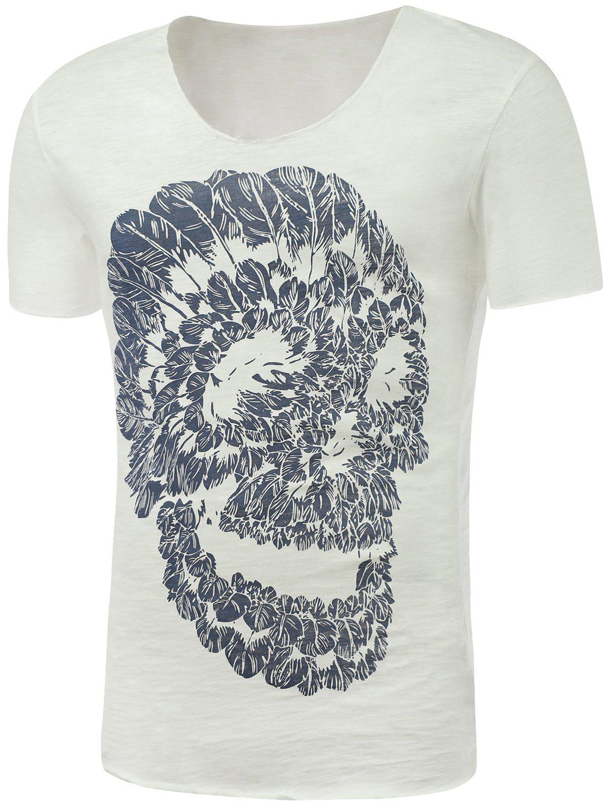 Short Sleeve Skull Print Round Neck T-Shirt - WHITE XL