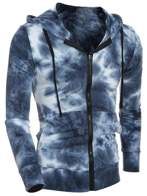 Hooded Zip-Up Ombre Bandhnu Hoodie - DEEP BLUE 2XL