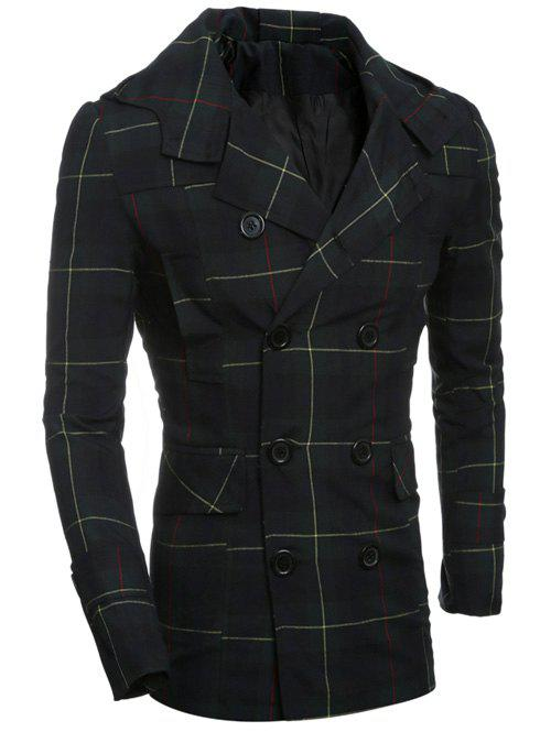 Vérifié Double-breasted Tournez-Down Collar Allonger Coat - Carré 2XL