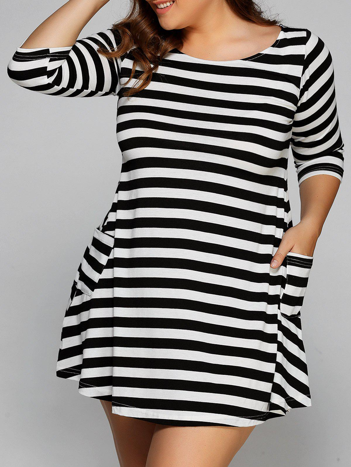 3/4 Sleeve Striped Mini T-Shirt DressWomen<br><br><br>Size: S<br>Color: WHITE AND BLACK