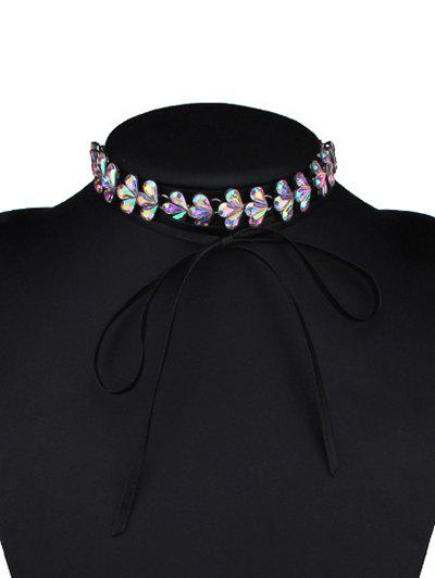 Tiered Rhinestone Flower Choker Necklace, Colormix