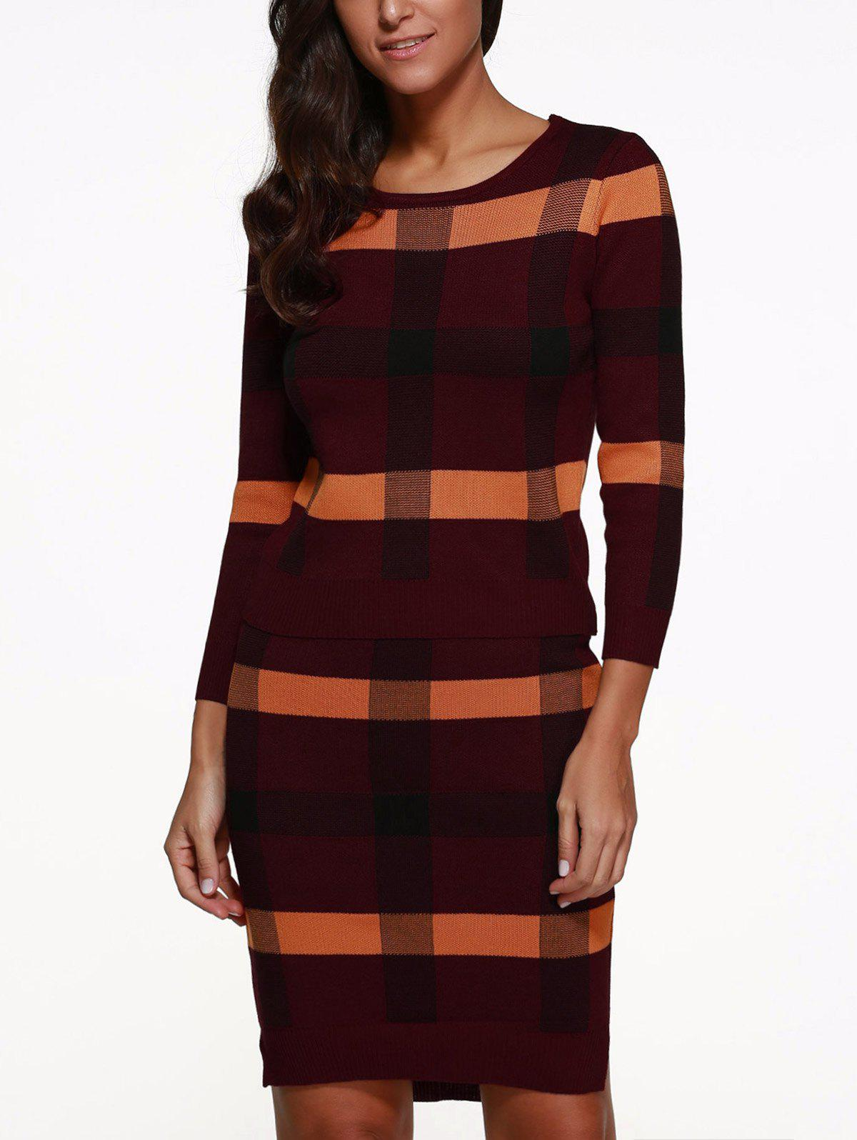 Knitted Plaid Two Piece DressWomen<br><br><br>Size: ONE SIZE<br>Color: RED