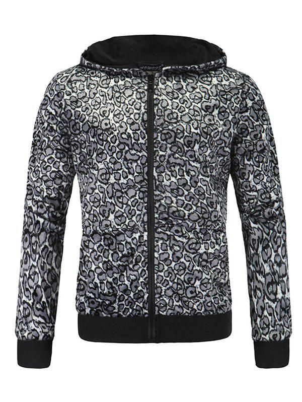 Leopard Print Zip Up Long Sleeve Hoodie - GRAY M