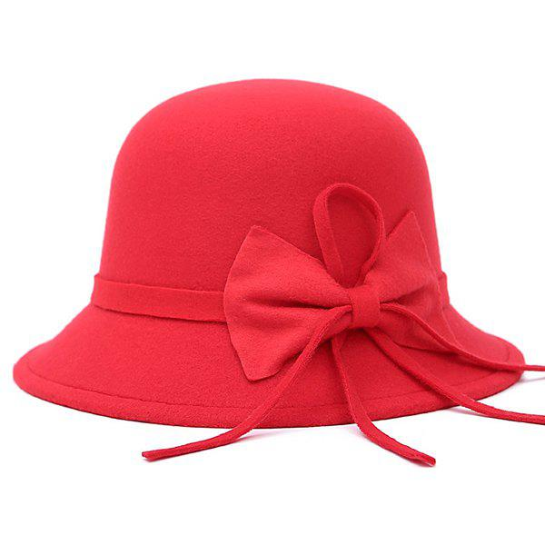 Bowknot Long Band Felt Fedora HatAccessories<br><br><br>Color: RED