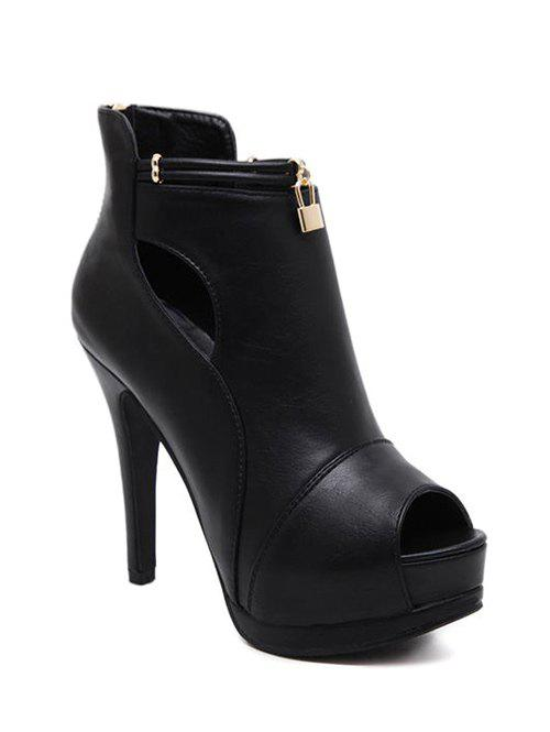 Plate-forme de verrouillage creux Out Peep Toe Shoes - Noir 39