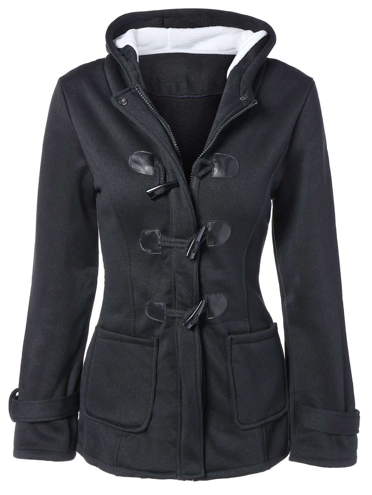 Hooded Duffle CoatWomen<br><br><br>Size: S<br>Color: BLACK