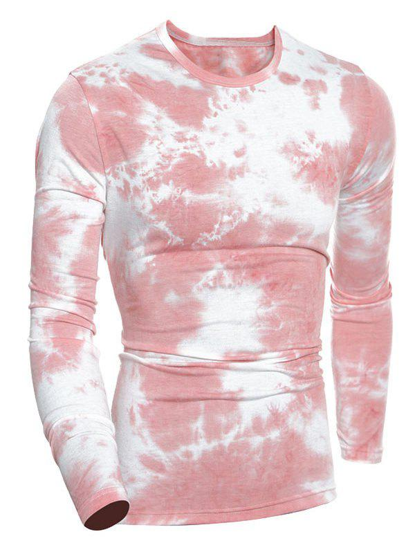 Tie-Dyed Long Sleeve Crew Neck T-Shirt long sleeve tie neck twisted t shirt