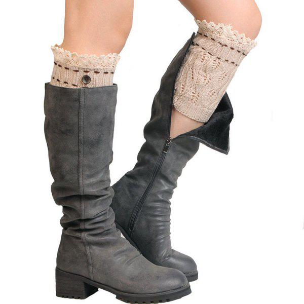 Pair of Button Lace Edge Hollow Out Leaf Knitted Boot Cuffs - OFF WHITE