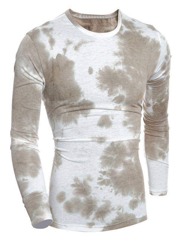Tie-Dyed Long Sleeve Crew Neck T-ShirtMen<br><br><br>Size: M<br>Color: GREY BROWN
