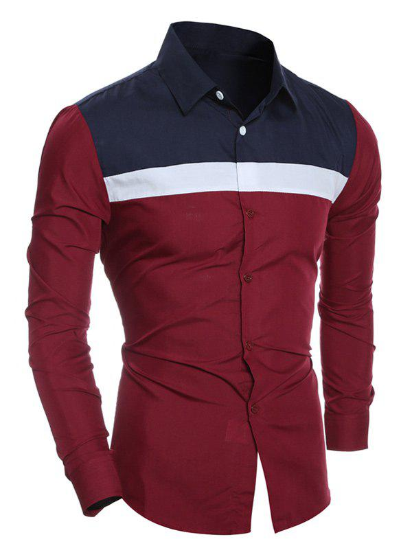 Turn-Down Collar Color Block Spliced Design Shirt - WINE RED L