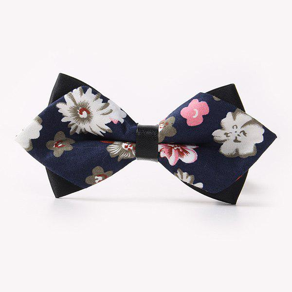Business Suit Small Flowers Sharp-Angled Double-Deck Bow Tie - CADETBLUE