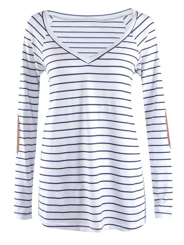 Striped V Neck patché à manches longues T-shirt - Rayure L