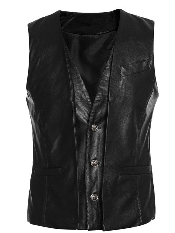 Faux Twinset Single-Breasted V-Neck PU-Leather WasitcoatMen<br><br><br>Size: 2XL<br>Color: BLACK