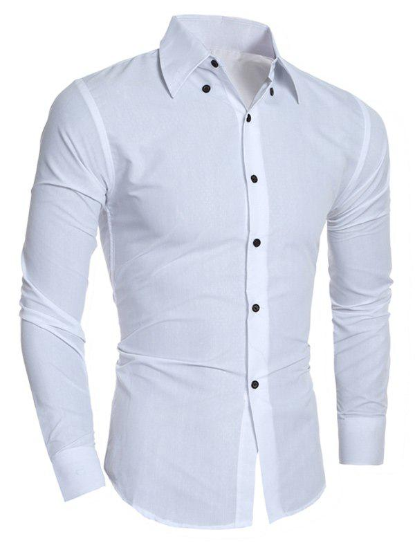 Turn-Down Collar Rhombic Pattern Design Shirt - WHITE M