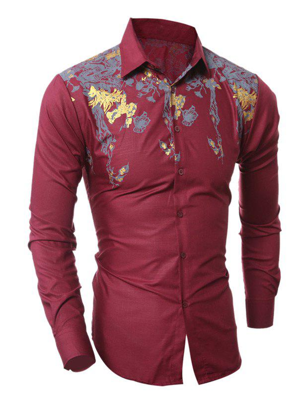 Turn-Down Collar Golden Floral Pattern Design Shirt - WINE RED 2XL